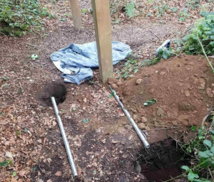 Outdoor gym digging holes